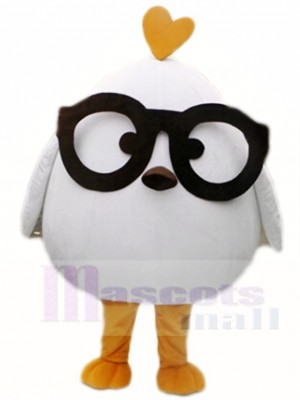 White Chicken with Black Glasses Mascot Costumes Poultry Animal