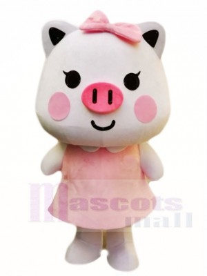 Cute Pink Pig with Bow Mascot Costumes Cartoon