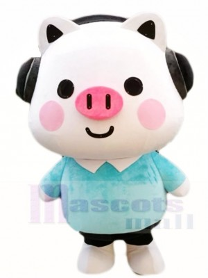 Cute Pig with Headset Mascot Costumes Cartoon