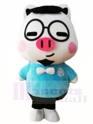 Cute Pig with Glasses Mascot Costumes Cartoon