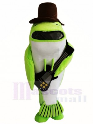 Green Whale Fish with Black Hat and Guitar Mascot Costumes Sea Ocean