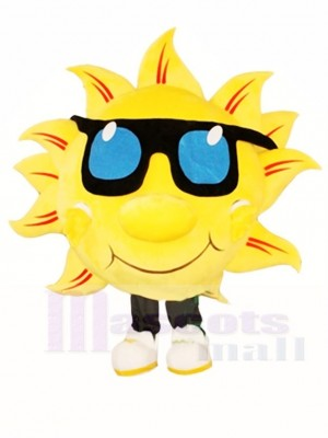 Yellow Sunshine with Sunglasses Mascot Costumes