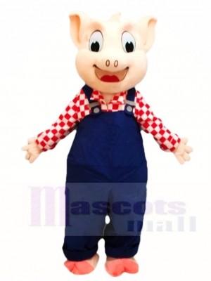 Cute Blue Overalls Pig Mascot Costumes Animal