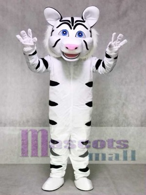 White Tiger Mascot Costume with Black Stripes Animal