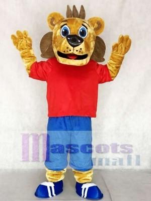 Cute Red Sports Coaching Lion Mascot Costumes Animal