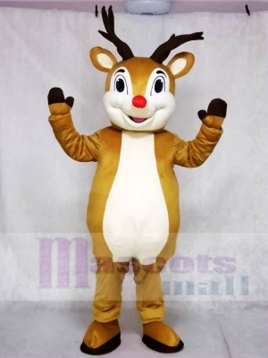 Cute Red Nose Rudolph Reindeer Mascot Costume Animal