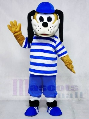 Cute Dog in Blue Striped Shirt Mascot Costumes Animal
