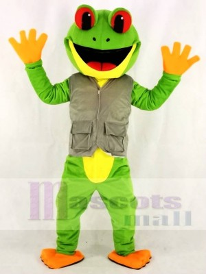 Green Tree Frog in Vest Mascot Costumes