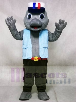 Cute Sailor Sea Lion Seal with Blue Vest Mascot Costumes Animal