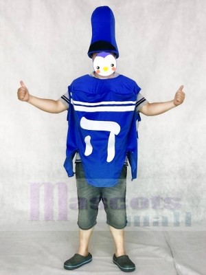 Simple Hanukkah Dreidel Mascot Costume with Hat