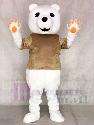Tan Shirt Polar Bear Mascot Costumes Animal