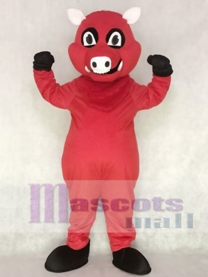 Red Razorback Feral Pig Hog Wild Boar Mascot Costume Animal
