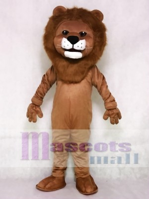 Realistic Animal Friendly Smiling Lion Mascot Costume