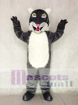 Cute Gray Wildcat Mascot Costume with Yellow Eyes Animal