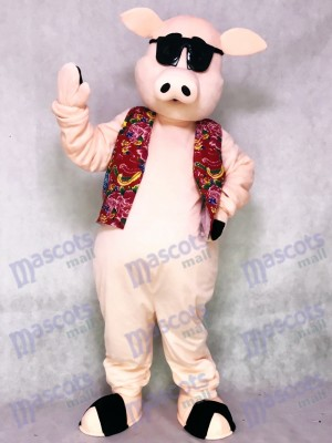 Pig Piglet Hog with Hawaiian Vest & Sunglasses Mascot Costume