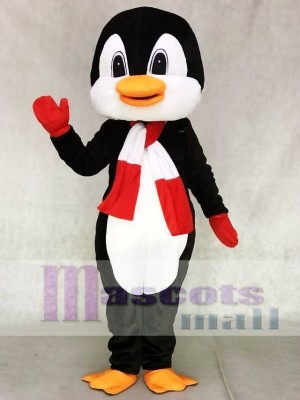 Penguin With Red and White Scarf Mascot Costumes Ocean