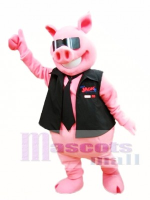 Cute Pink Pig with Vest and Tie Mascot Costume Piggy Mascot Costumes Animal