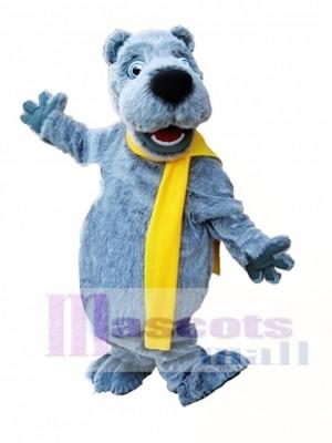 Gray Bear with Yellow Scarf Mascot Costume Grey Bear Mascot Costumes Animal