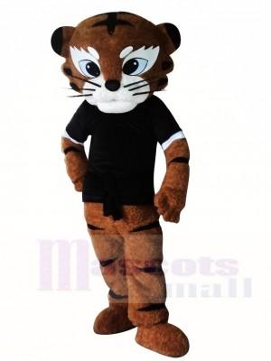 Black Shirt Kung Fu Judo Tiger Mascot Costumes Animal