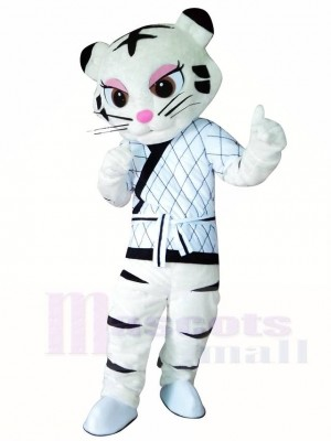 White Kung Fu Judo Tiger Tigress Mascot Costumes Animal