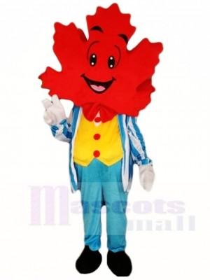 Blue Suit Maple Leaf Mascot Costumes Plant