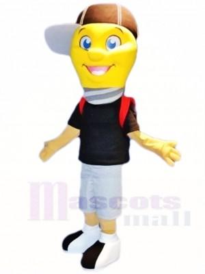 Lamp Light Bulb Boy With Cap Mascot Costumes People