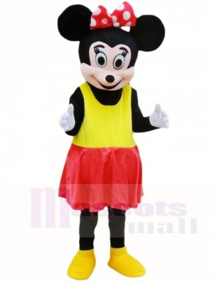 Minnie Mouse in Yellow Dress Mascot Costumes Cartoon
