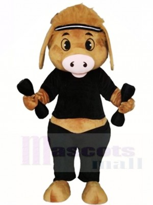 Cute Pig with Dumbbell Mascot Costumes Animal
