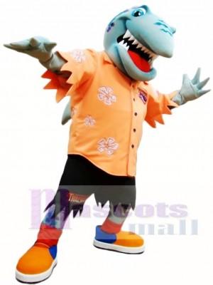 Orange Shirt Shark Mascot Costume Ocean