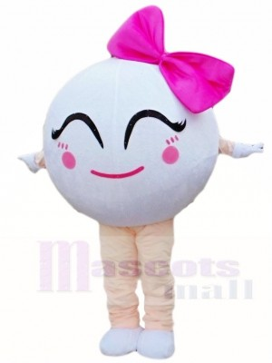 Golf Ball with Bowknot Mascot Costumes Sport