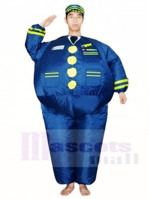 Blue Navy Captain Pilot Inflatable Halloween Xmas Costumes for Adults