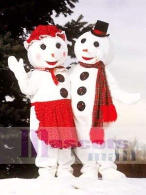 Cute Mrs. Snowman Mascot Costume Christmas Xmas