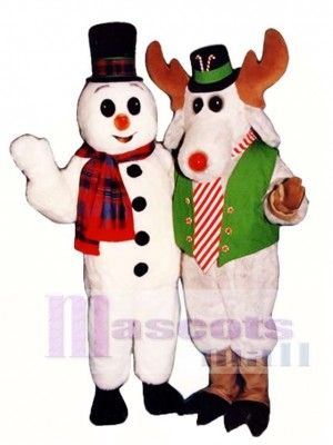 Cute Snow Buddy Snowman with Hat & Scarf Mascot Costume Xmas