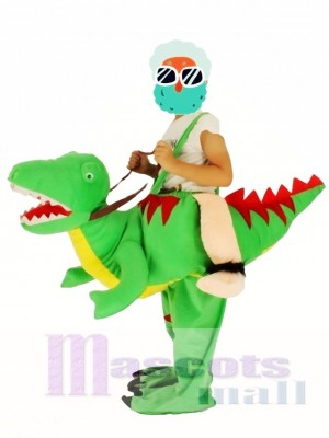 Children/ Kids Piggyback Carry Me Ride on Open Mouth Green Dinosaur Dragon Mascot Costume