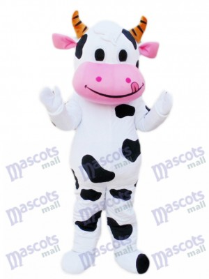 Pink Mouth Cow Mascot Costume Cartoon