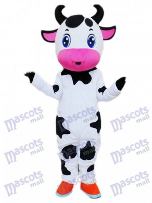 Cute Blue Eyes Cow Mascot Costume Cartoon