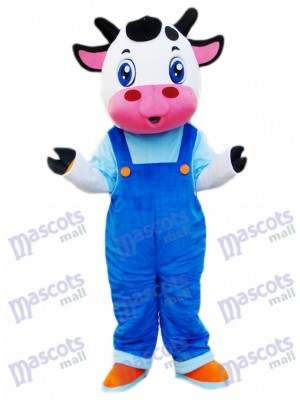 Cow in Blue Overalls Mascot Costume Cartoon