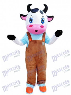 Blue Eyes Cow with Brown Overalls Mascot Costume Cartoon