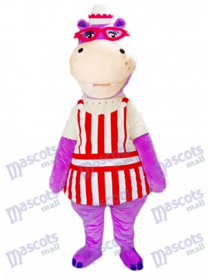 Purple Hippo Hippopotamus with Glasses Mascot Costume Animal
