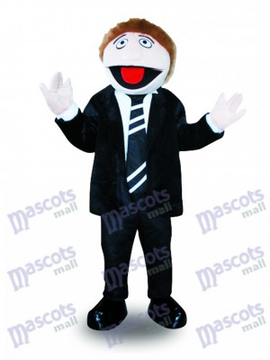 Black Suit Man Mascot Costume Cartoon