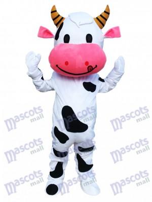 Pink Ear Cow Mascot Costume Cartoon