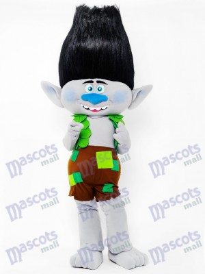 Trolls Boy Branch Mascot Costume Black Hair Branch Cartoon