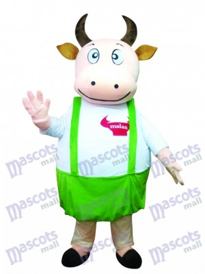 Fat Cow with Blue Overalls Mascot Costume Animal