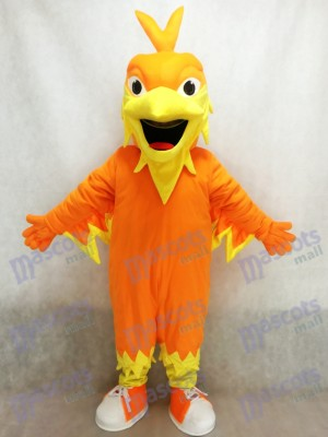 Orange Phoenix Mascot with Pointy head, Wings, Tail and Tennis Shoes