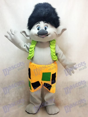 Trolls Branch Boy with Black Hair Mascot Costume Cartoon