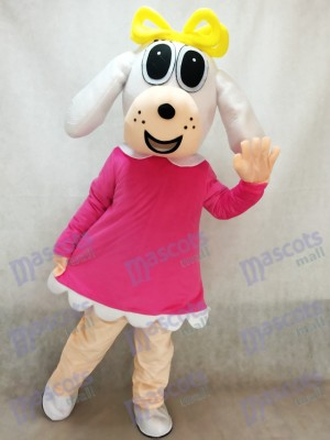 Female Dog In Fuchsia Dress Mascot Costume Animal