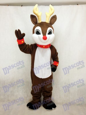 Blinker Deer with Red Nose Christmas Mascot Costume Animal