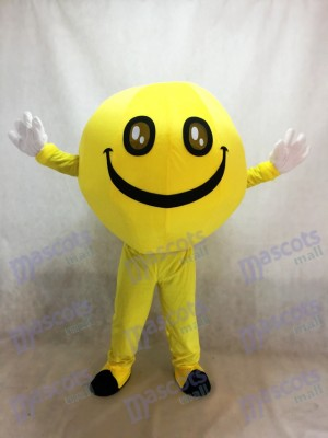 Yellow Emoji Grinning Happy Smiley Face Full Body Mascot Costume