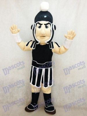 New Black and White Spartan Trojan Knight Sparty Mascot Costume