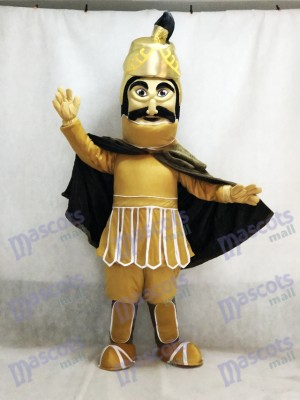 Fierce Golden Helmet Trojan Warrior Mascot Costume